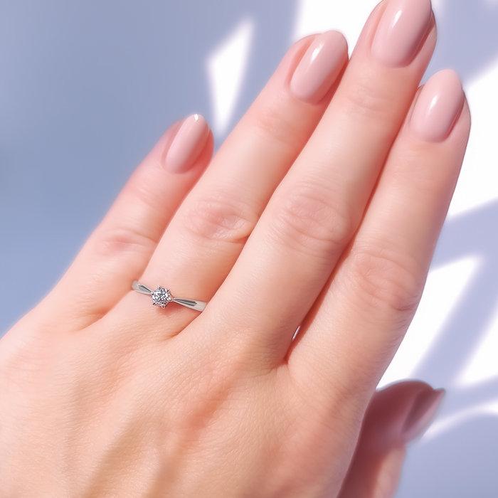 Pierścionek Z Białego Złota Z Białym Szafirem Ap 6622b Biżuteria