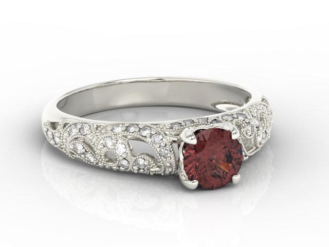Pierścionek Zaręczynowy Z Białego Złota Z Granatem I Diamentami Bp