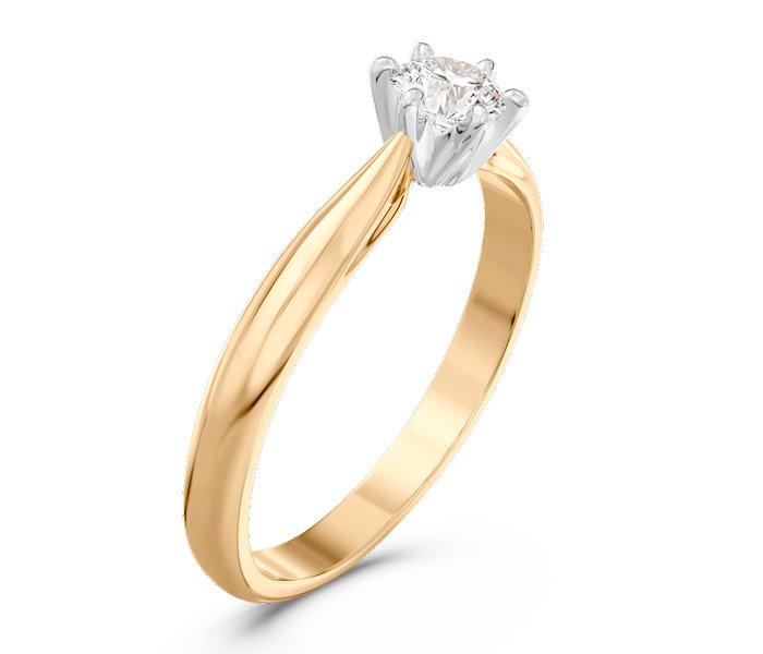 Pierścionek Zaręczynowy Z żółtego I Białego Złota Z Brylantem Ap