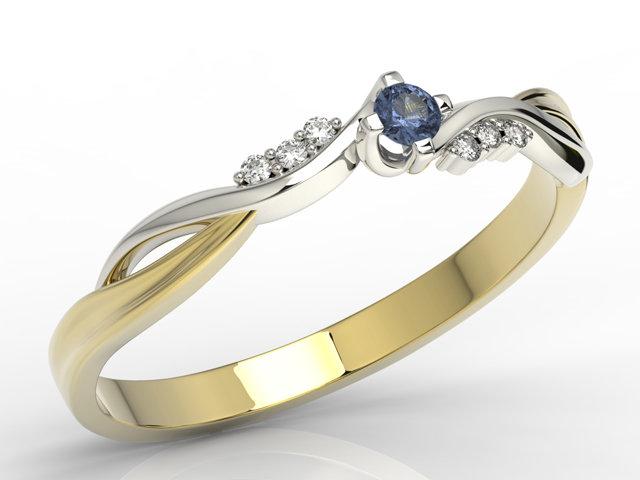 Pierścionek Zaręczynowy Z żółtego I Białego Złota Z Szafirem I