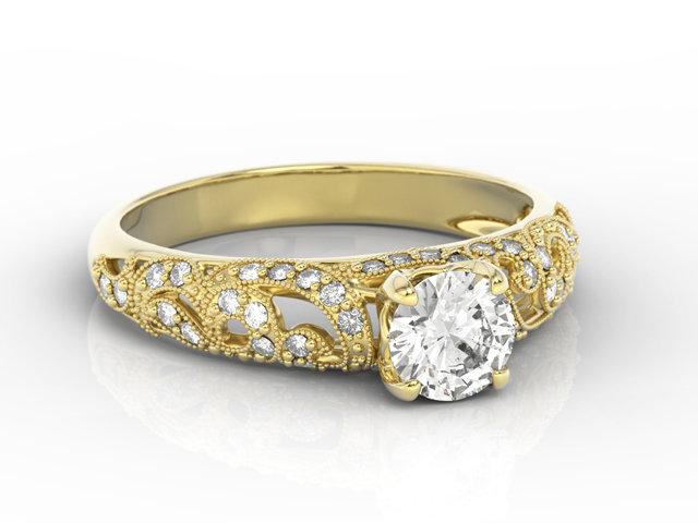 Pierścionek Zaręczynowy Z żółtego Złota Z Białym Szafirem I